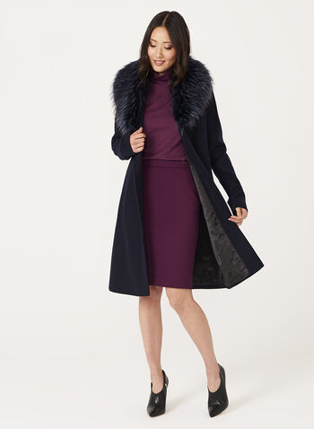 Faux Fur Collar Wool Like Coat, , hi-res