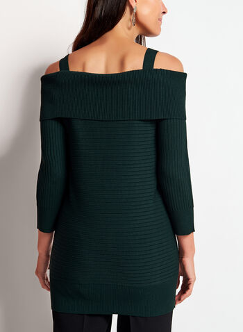 Cold Shoulder Marilyn Neck Knit Sweater, Green, hi-res