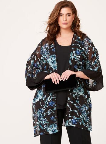 3/4 Sleeve Floral Print Kimono , , hi-res