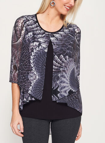 3/4 Sleeve Layered Blouse, , hi-res