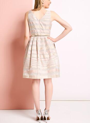 Stripe Print Organza Fit & Flare Dress, , hi-res