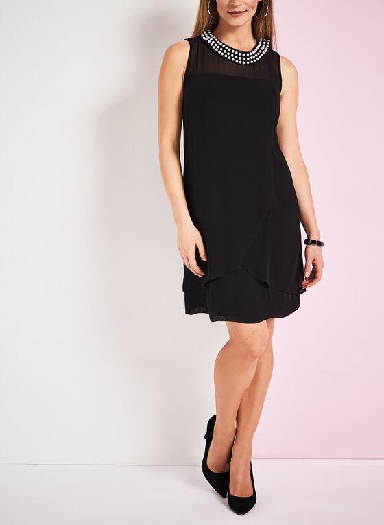 Pearl Collar Shift Dress, Black, hi-res