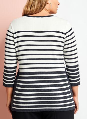 Embellished Stripe Print Sweater, , hi-res