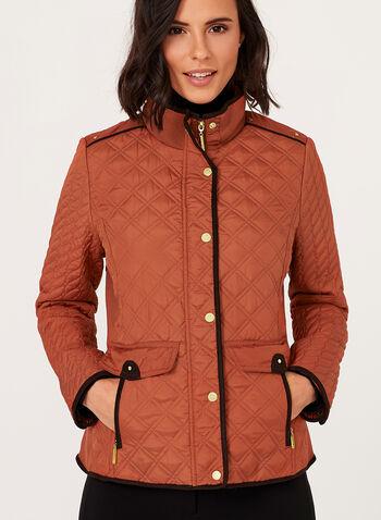 Weatherproof - Diamond Quilted Stand Collar Coat, , hi-res