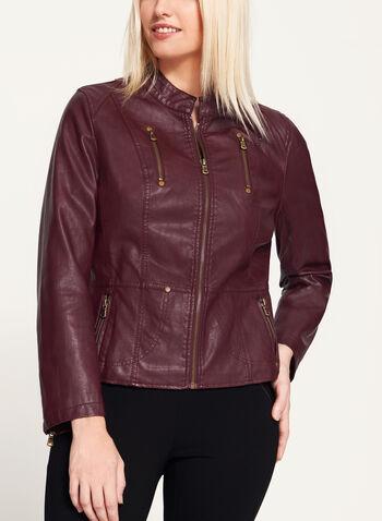 Faux Leather Zipper Trim Jacket, , hi-res