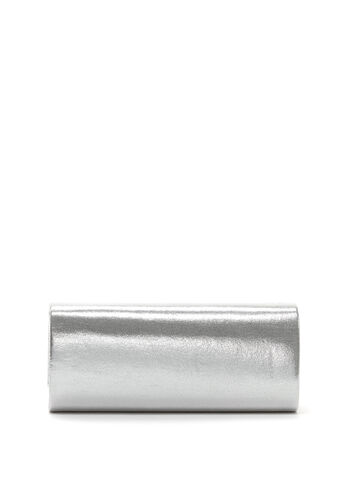 Crystal Embellished Silver Clutch, , hi-res