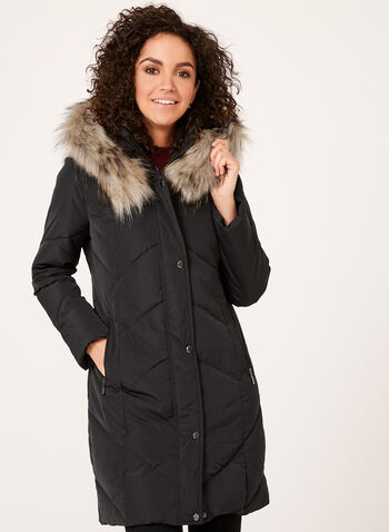 Quilted Faux Down Coat, , hi-res