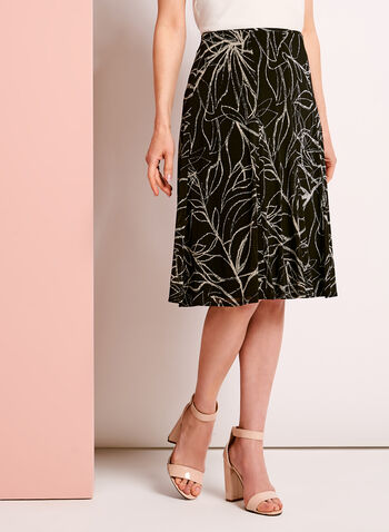 Floral Print A-Line Midi Skirt, , hi-res
