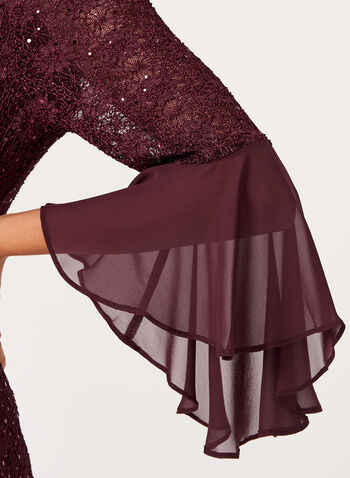 Bell Sleeve Sequin Lace Dress, , hi-res
