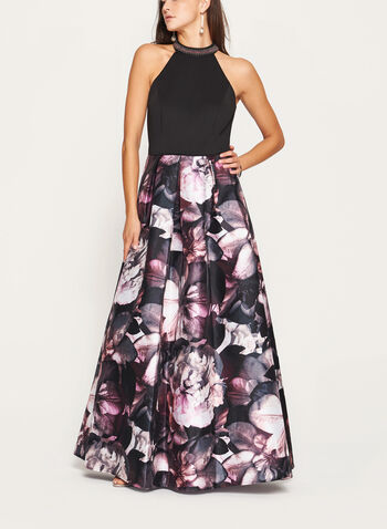 Floral Print Cleo Beaded Neck Gown , , hi-res