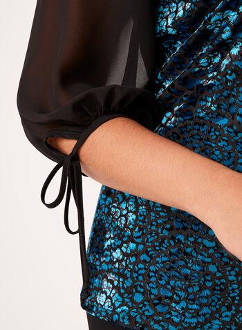 Chiffon Sleeve Velvet Top , , hi-res