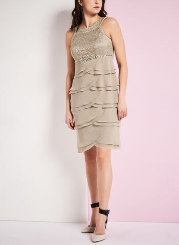 Tiered Beaded Bodice Dress, , hi-res