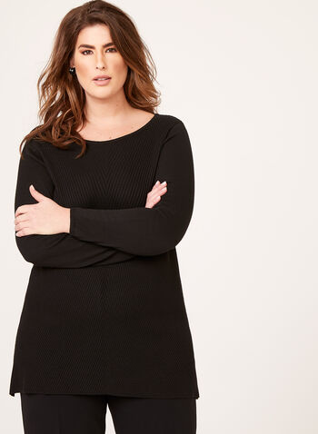 Asymmetric Hem Tunic Sweater, Black, hi-res