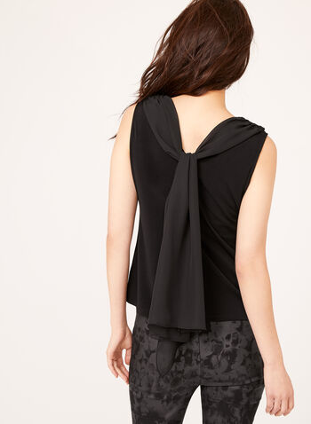 Draped Chiffon Crepe Top , Black, hi-res