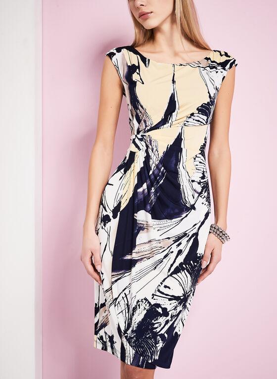 Abstract Floral Print Dress, Black, hi-res