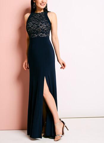 Glitter Lace Bodice Jersey Dress, , hi-res