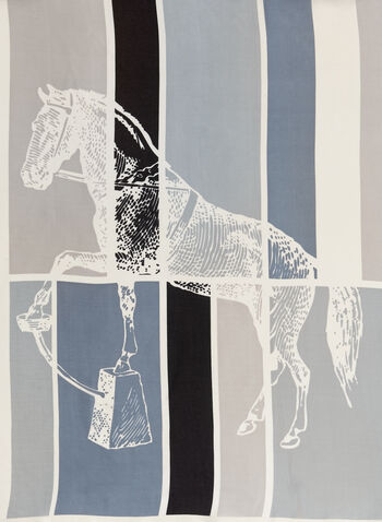 Color Block Stallion Print Scarf, , hi-res