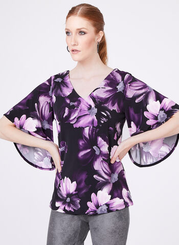 Floral Print Angel Sleeve Top, , hi-res