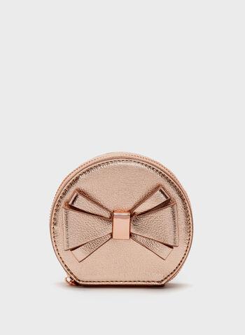 Metallic Bow Detail Coin Purse, Pink, hi-res